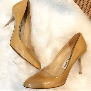 Jimmy Choo Nude Patent Leather Shoes Heels Pumps